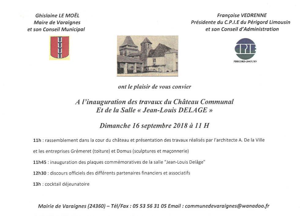 Invitation à l'inauguration des travaux et de la salle Jean-Louis Delâge au Château de Varaignes