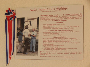 plaque de la Salle Jean-Louis Delâge du Château de Varaignes