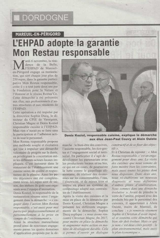 article de l'Echo sur l'EHPAD de Mareuil-en-Périgord et Mon Restau Responsable