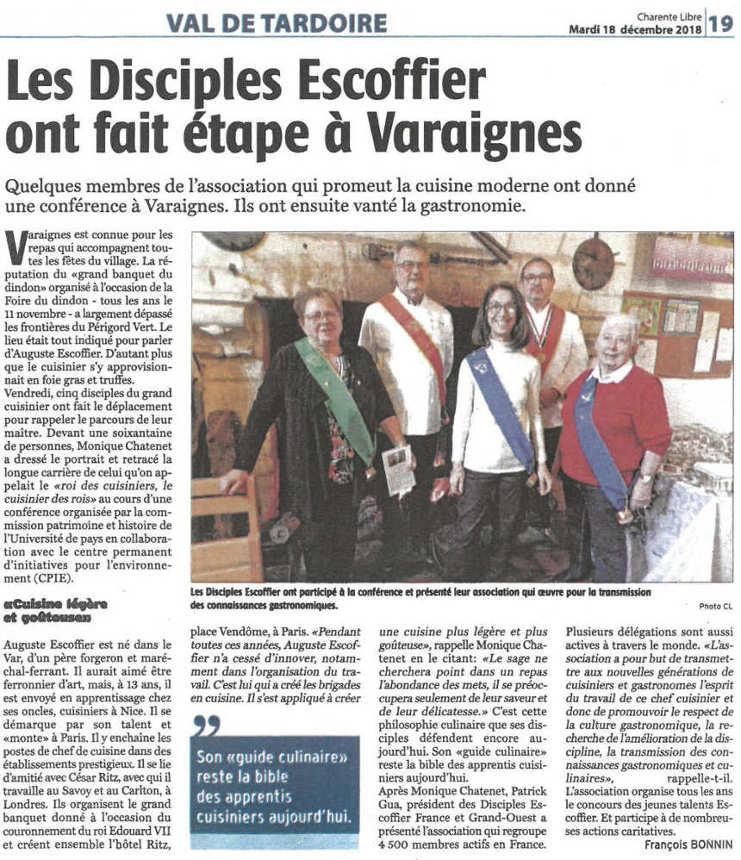 article de la Charente libre conférence Escoffier