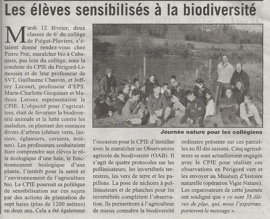 article de l'Echo de Dordogne sur la plantation de haies