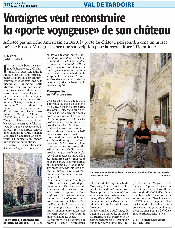 article sur la porte voyageuse dd château de Varaignes-charente-libre