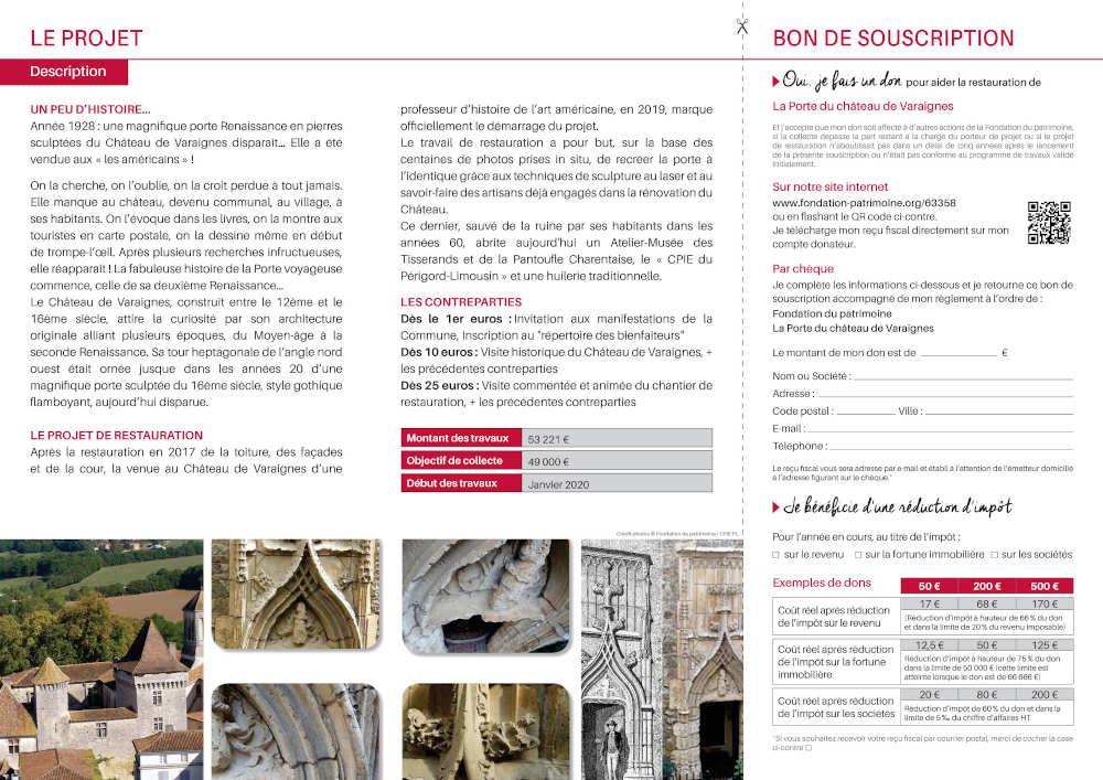 bon de souscription pou la porte du château de Varaignes-2