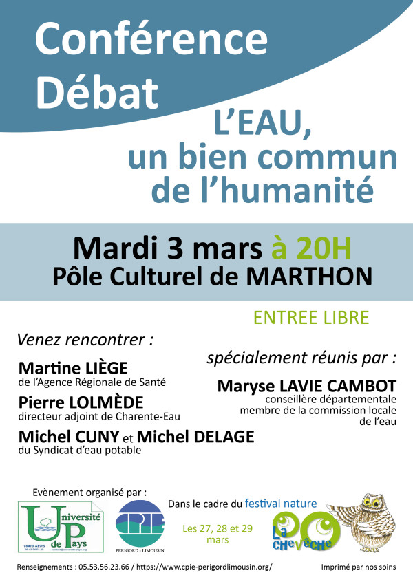 Les enjeux Quantité/Qualité- L'EAU, un BIEN COMMUN de l'humanité - Conférence-débat à Marthon - mardi 3 mars
